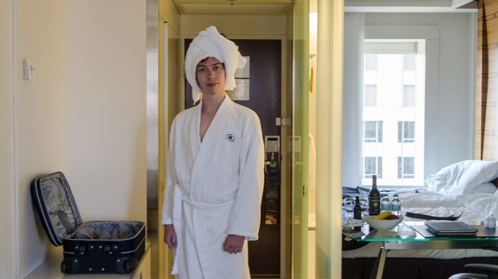 Me in my Hilton Dressing Gown