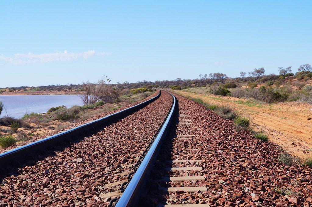 Looking down the Ghan Railway Track