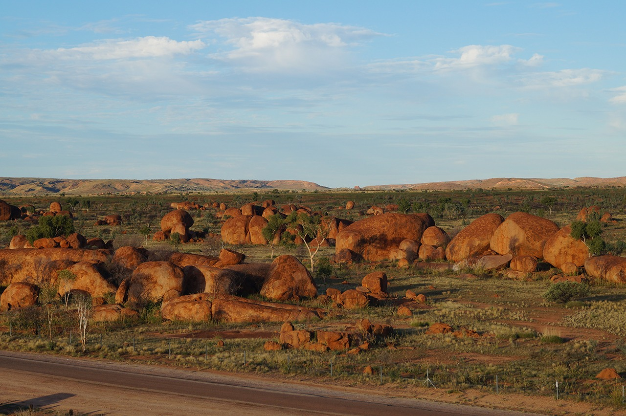 View of Devils Marbles from On top of a boulder