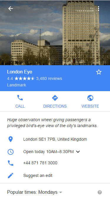 London Eye Google Result Card
