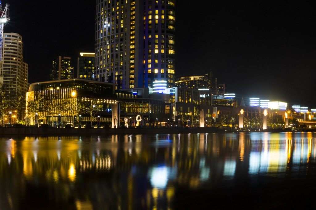 Melbourne at night across the Yarra river