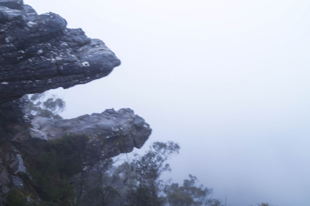 sunrise in the grampians looking down the mountains