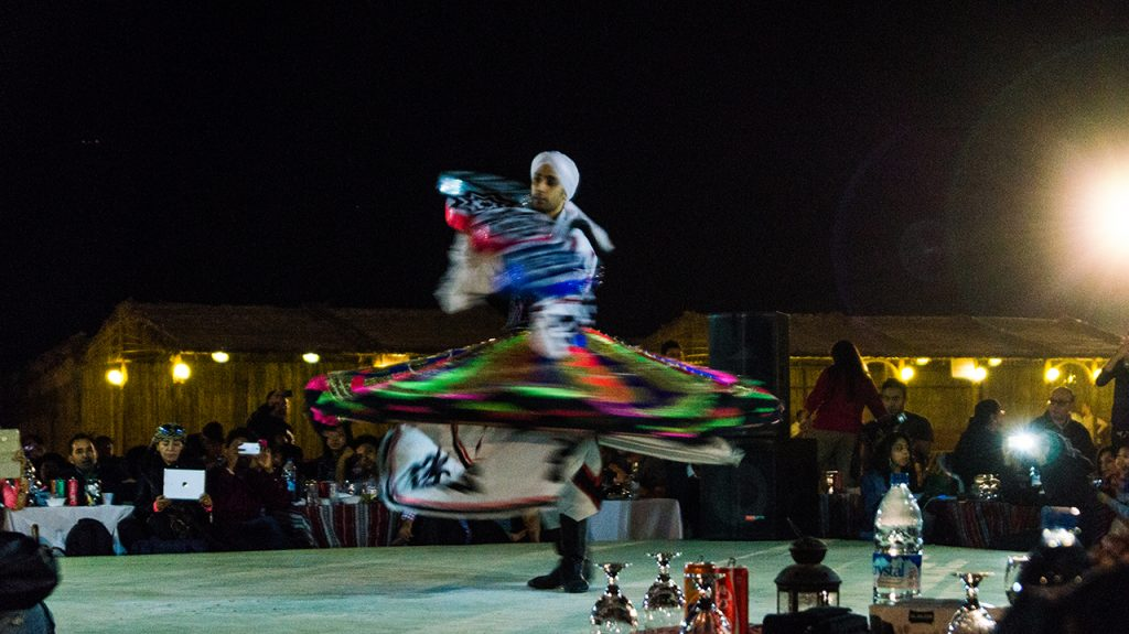 Lit up dancer in Dubai