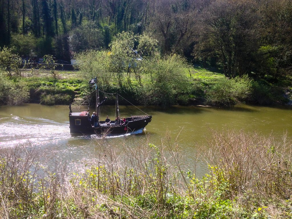 Pirate ship the Black Pearl sailing the River Severn
