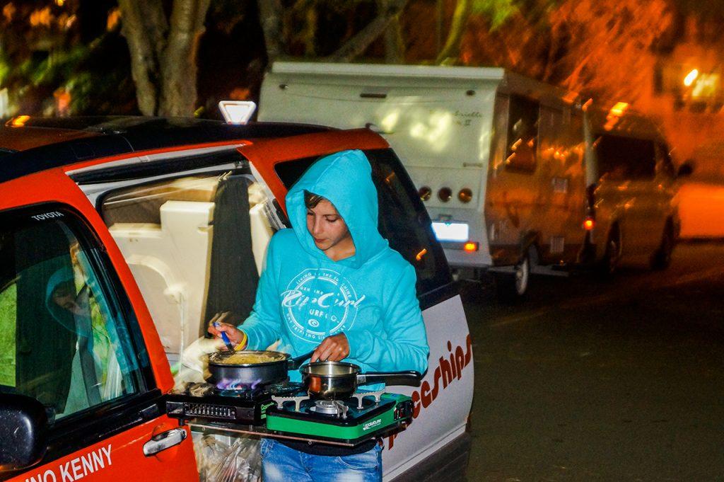 Cooking in a camper van