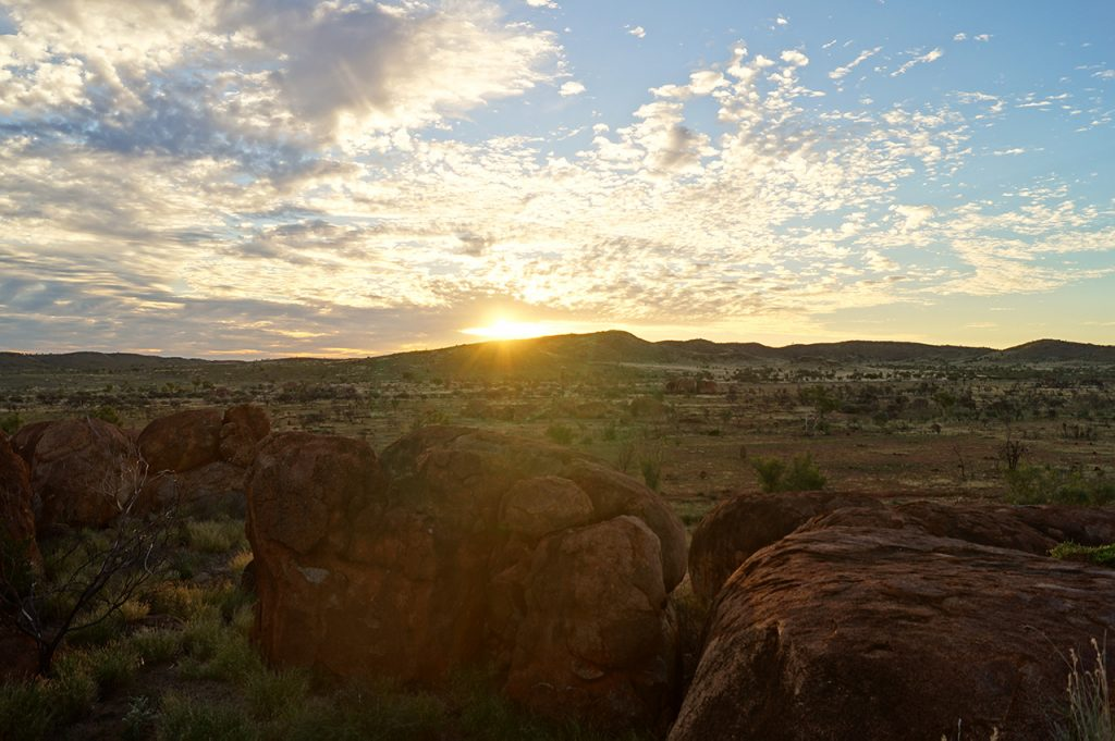 Sun setting over the Devils Marbles