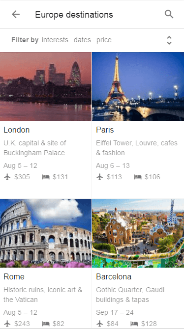 Europe Destination Results on Mobile