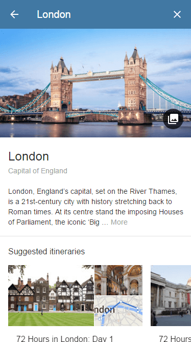 London Details Google Result Page