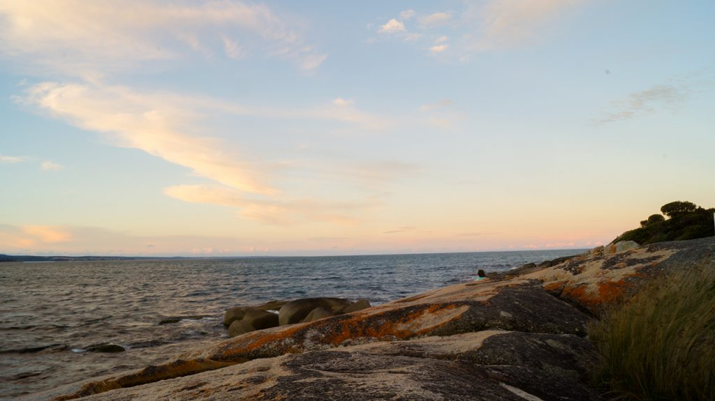Bay of Fires at sunset in Tasmania