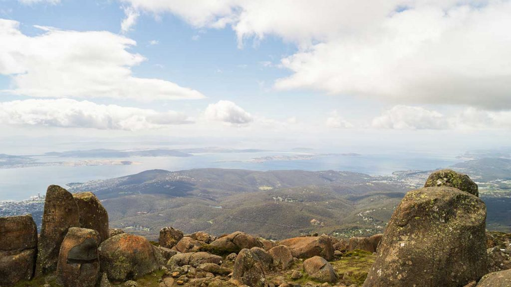 View from the summit of Mount Wellington