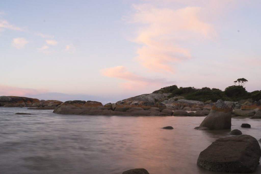 the Bay of Fires in Tasmania during the golden hour
