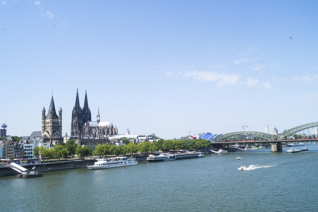 Cologne Cathedral and Bridge from Across the River Rhine