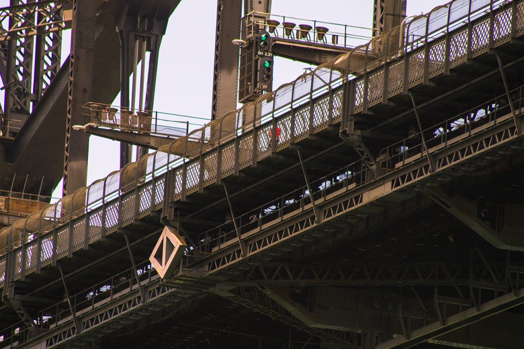 Cyclist on Sydney Harbour Bridge