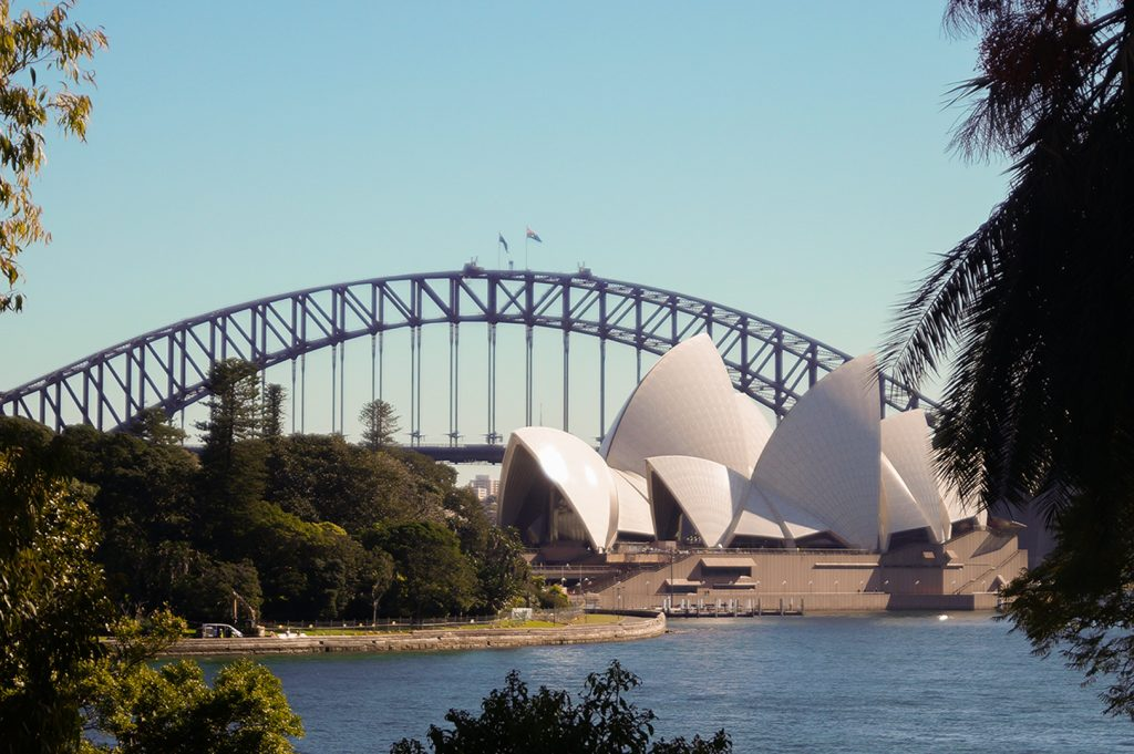 Opera House and Harbour Bridge view from Botanical Gardens