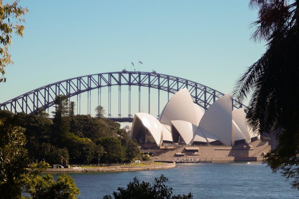 Opera House and Harbour Bridge from Botanic Gardens