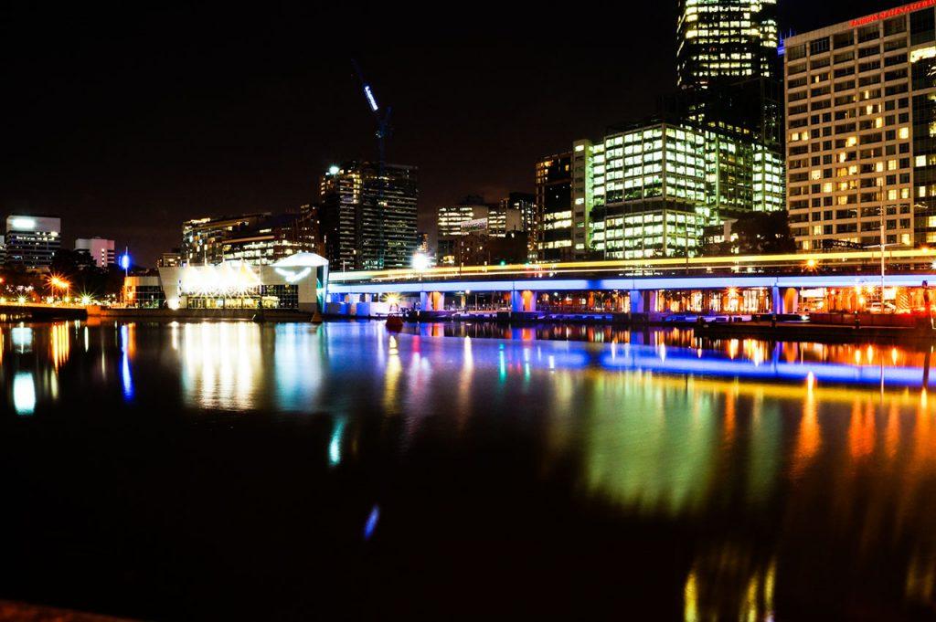Melbourne's nighttime cityscape