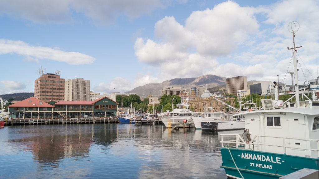 Hobart from the coast